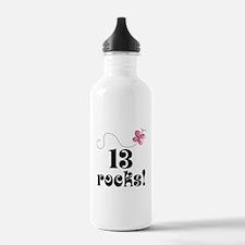 13th Birthday Butterfly Water Bottle