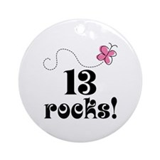 13th Birthday Butterfly Ornament (Round)