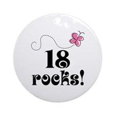 18th Birthday Butterfly Ornament (Round)