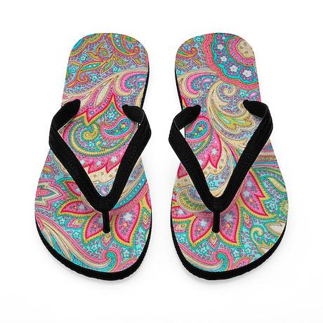 Pink Paisley Flip Flops