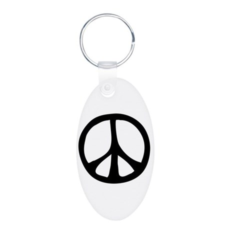 Flowing Peace Sign Aluminum Oval Keychain