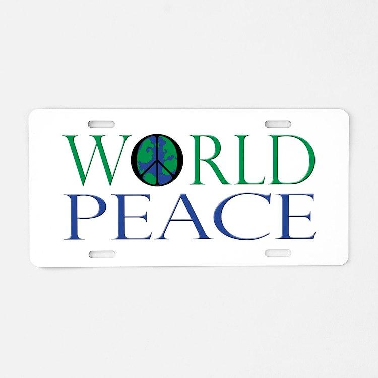World Peace Aluminum License Plate