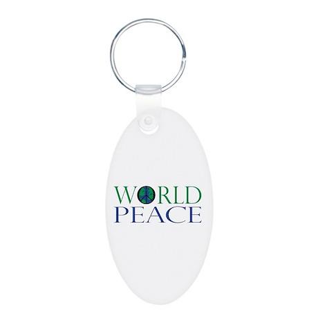 World Peace Aluminum Oval Keychain