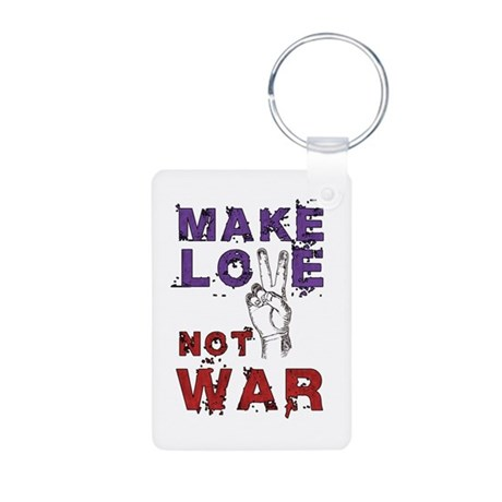 Make Love not War Aluminum Photo Keychain