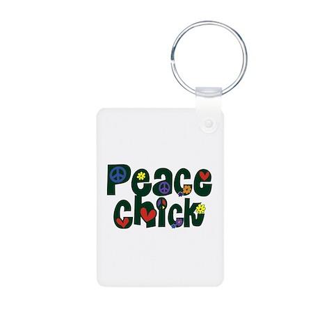 Peace Chick Aluminum Photo Keychain
