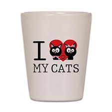 I love my cats Shot Glass