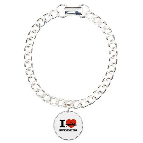 I love Swimming Charm Bracelet, One Charm