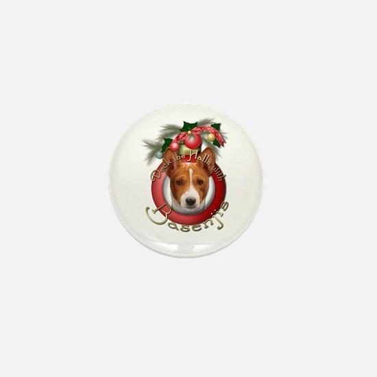Christmas - Deck the Halls - Basenjis Mini Button