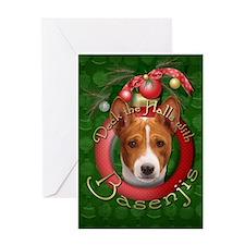 Christmas - Deck the Halls - Basenjis Greeting Car