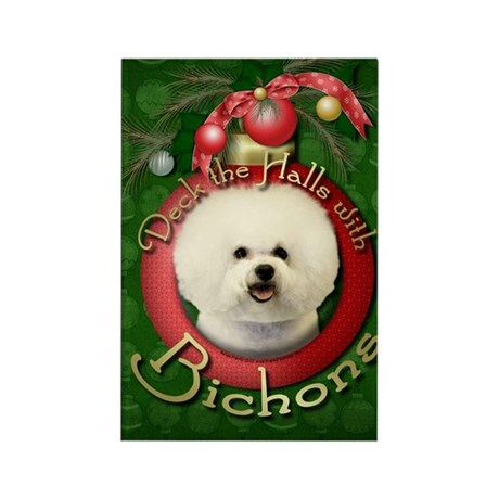 Christmas - Deck the Halls - Bichons Rectangle Mag