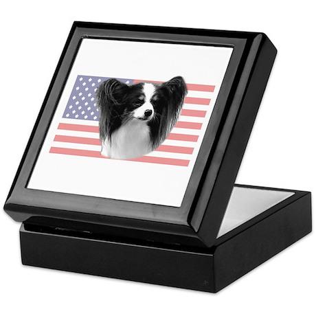 Tri Color Papillon w/ US Flag Keepsake Box