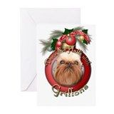 Holidays christmas brussel griffon Greeting Cards (20 Pack)