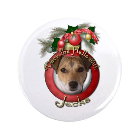 "Christmas - Deck the Halls - Jacks 3.5"" Button"