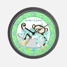 Monkey in Tub Wall Clock - Andrew and James