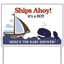 Nautical It's a Boy Baby Shower Yard Sign