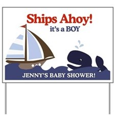Personalized Baby Shower Yard Sign - Ahoy Mate
