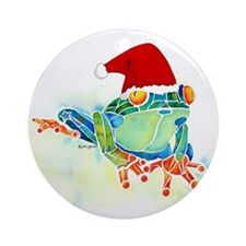 Christmas Holiday Tree Frog Ornament (Round)