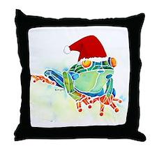 Christmas Holiday Tree Frog Throw Pillow