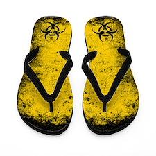 Biohazard Grunge Yellow Flip Flops