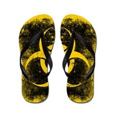 Big Biohazard Grunge Black Flip Flops
