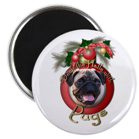 "Christmas - Deck the Halls - Pugs 2.25"" Magnet (10"