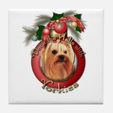 Christmas - Deck the Halls - Yorkies Tile Coaster