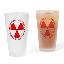 Red Radiation Warning Drinking Glass