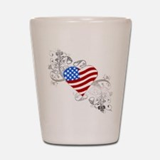 Independence Day Flag Heart Shot Glass