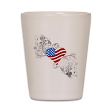 Independence Day Heart Shot Glass