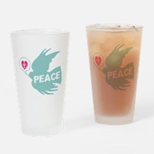 Peace Love & Dove Deco Art Drinking Glass