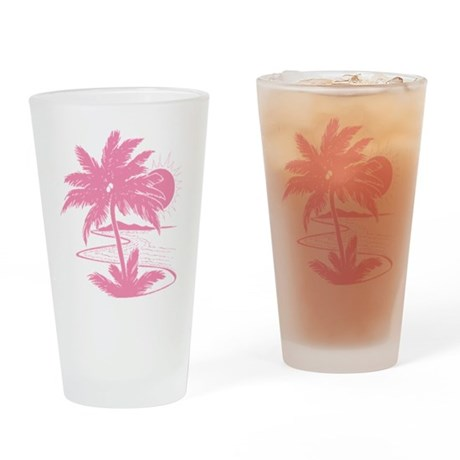 Pink Palm Beach Silhouette Drinking Glass