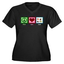 Peace Love Sushi Women's Plus Size V-Neck Dark T-S