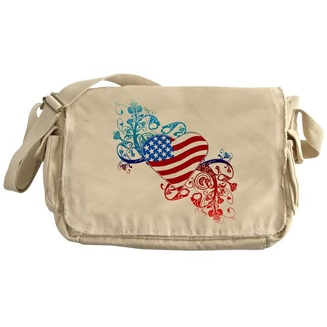 July 4th Heart Scroll Messenger Bag