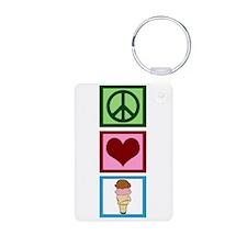 Peace Love Ice Cream Keychains