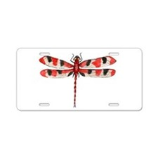 Red Dragonfly Aluminum License Plate