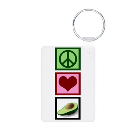 Peace Love Avocado Aluminum Photo Keychain