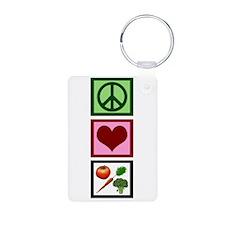 Peace Love Vegetarian Keychains