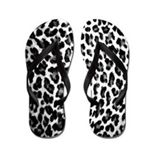 Black & White Leopard Print Flip Flops
