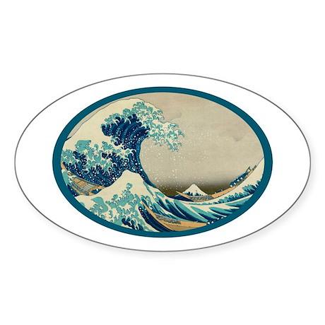 Kanagawa great wave Sticker (Oval)