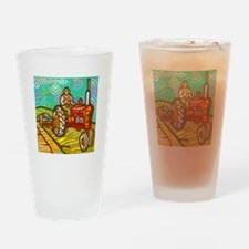 Van Gogh Tractor Drinking Glass