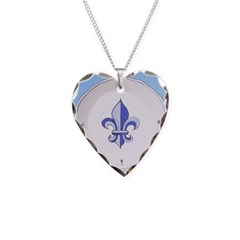 Fleur de Lis 2 Necklace Heart Charm