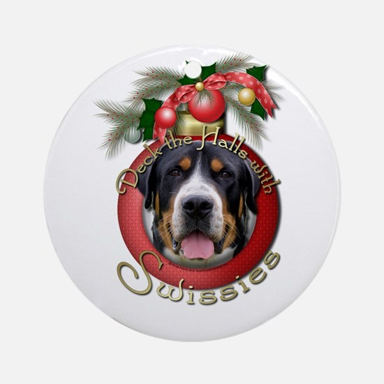 Christmas - Deck the Halls - Swissies Ornament (Ro