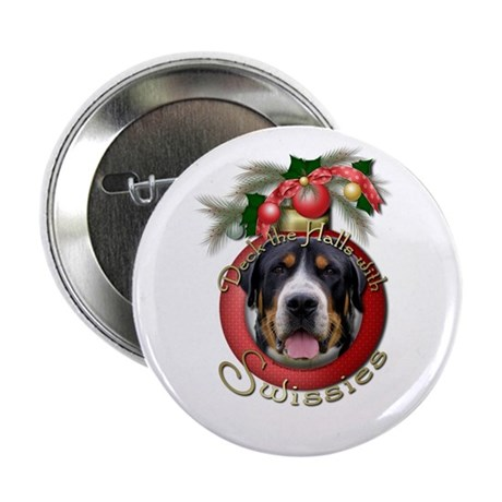 "Christmas - Deck the Halls - Swissies 2.25"" Button"