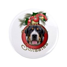 """Christmas - Deck the Halls - Swissies 3.5"""" Button"""