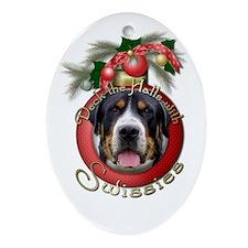Christmas - Deck the Halls - Swissies Ornament (Ov