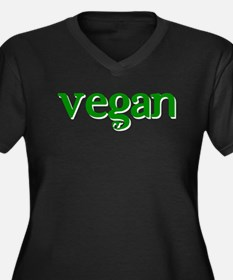 Simple Vegan Women's Plus Size V-Neck Dark T-Shirt
