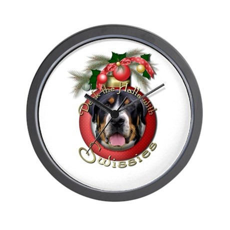 Christmas - Deck the Halls - Swissies Wall Clock