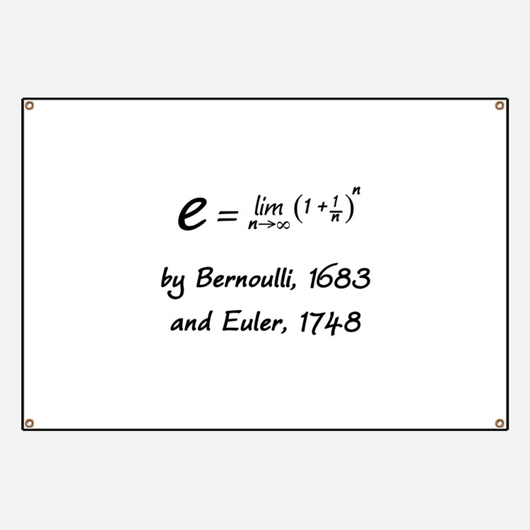 e by Bernoulli and Euler Banner