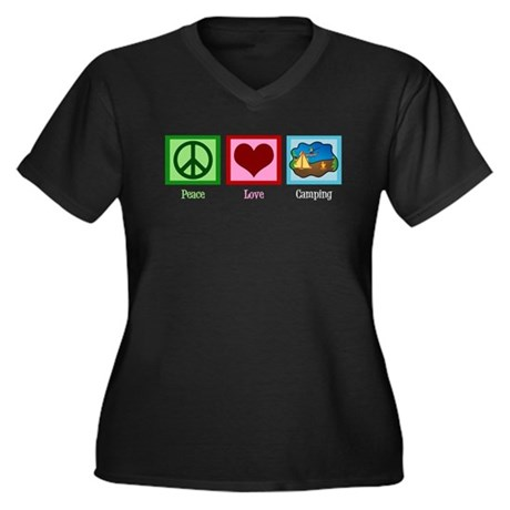 Peace Love Camping Women's Plus Size V-Neck Dark T