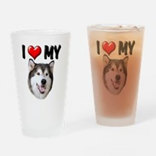 I Love My Alaskan Malamute Drinking Glass